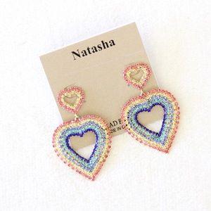 Natasha Rhinestone Rainbow Heart Earrings